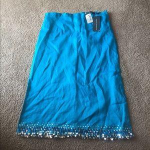 Mid-Length Light Blue Skirt w/Sequined Hemline